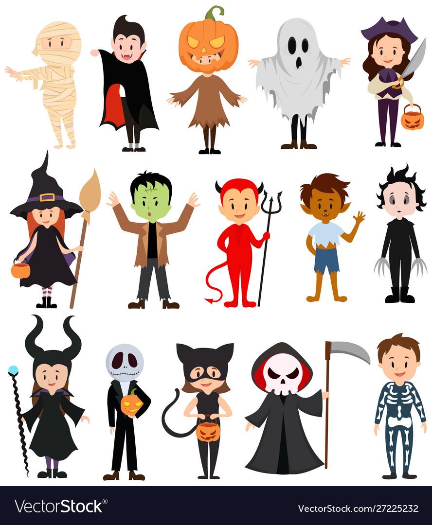 Set children in costumes for halloween