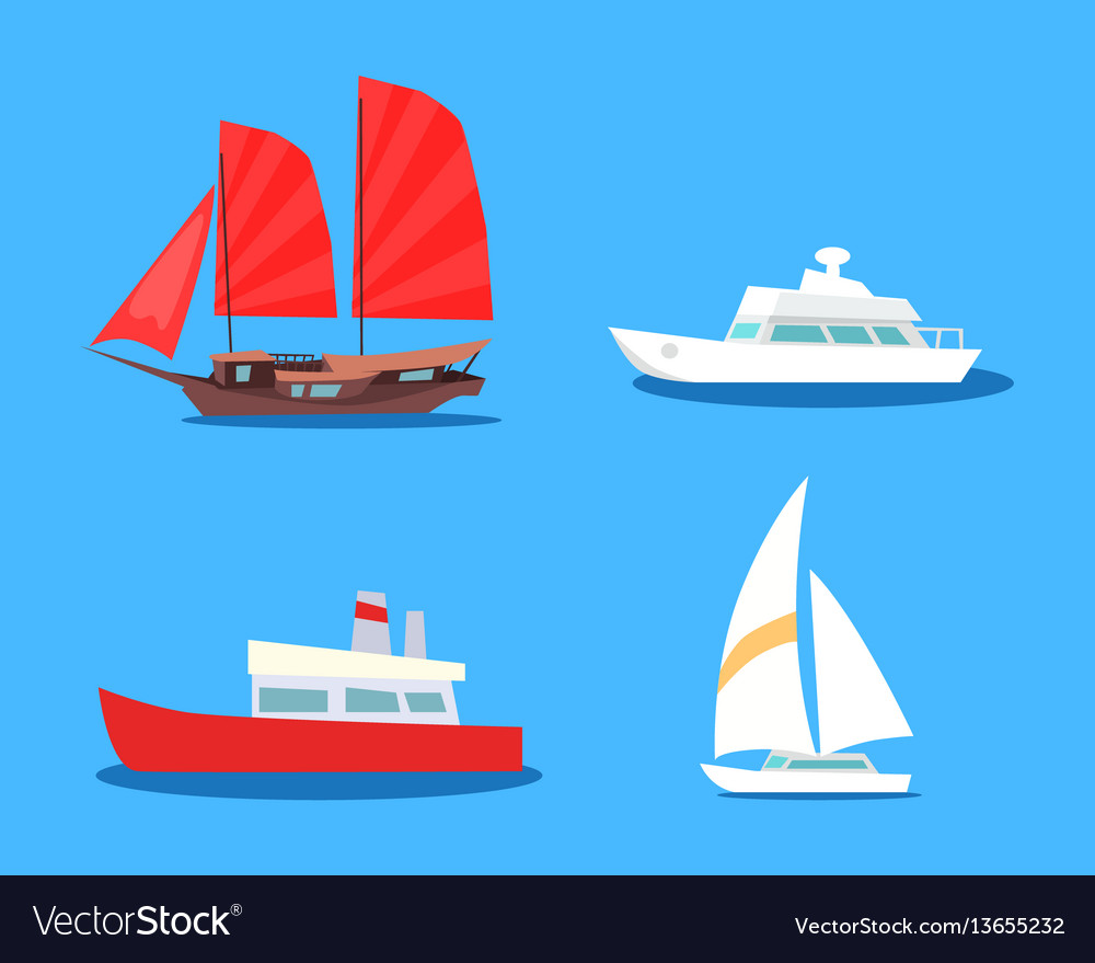 Set of sailing and motor vessels icon