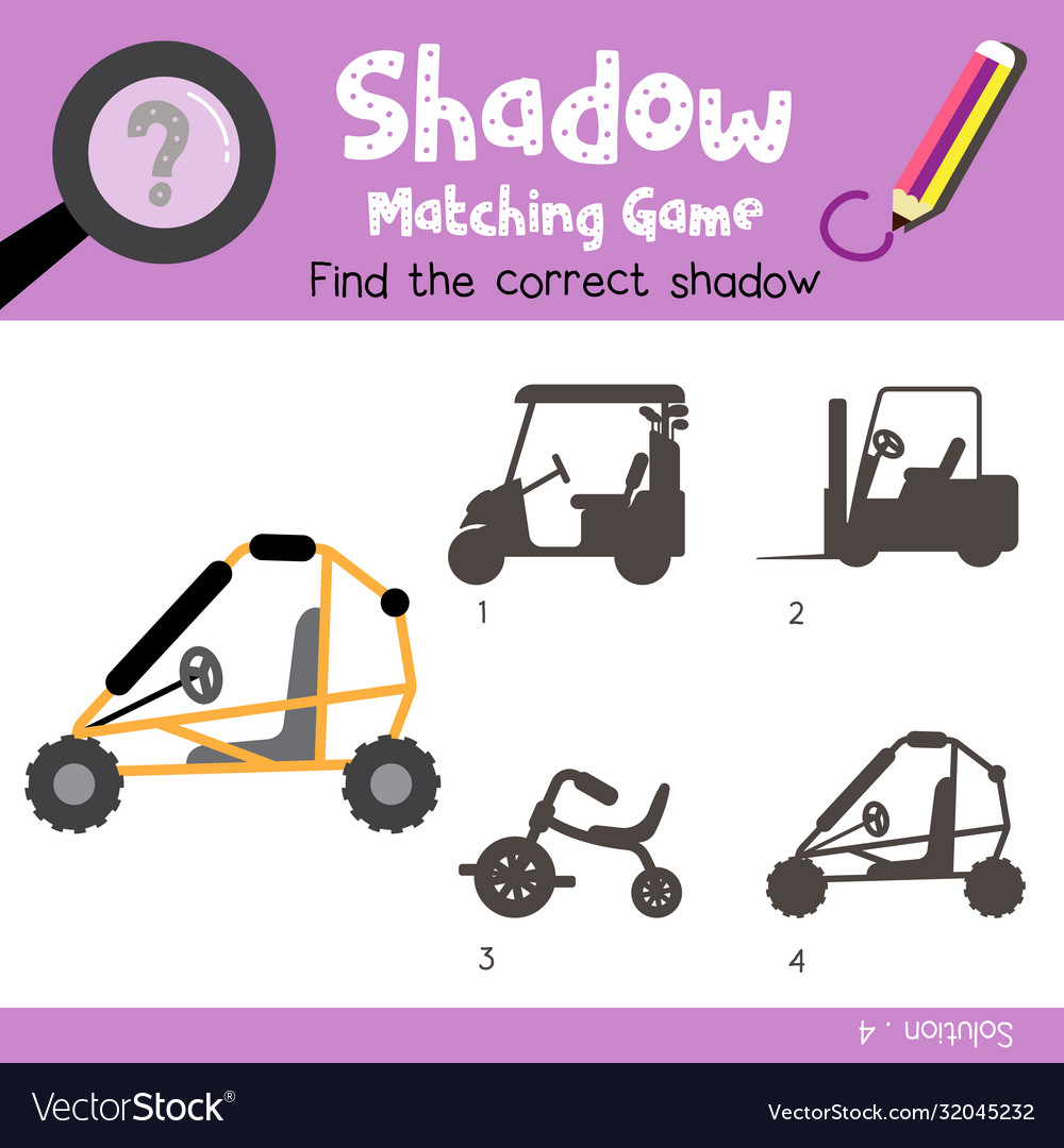 Shadow Matching Game Dune Buggy Side View Vector Image