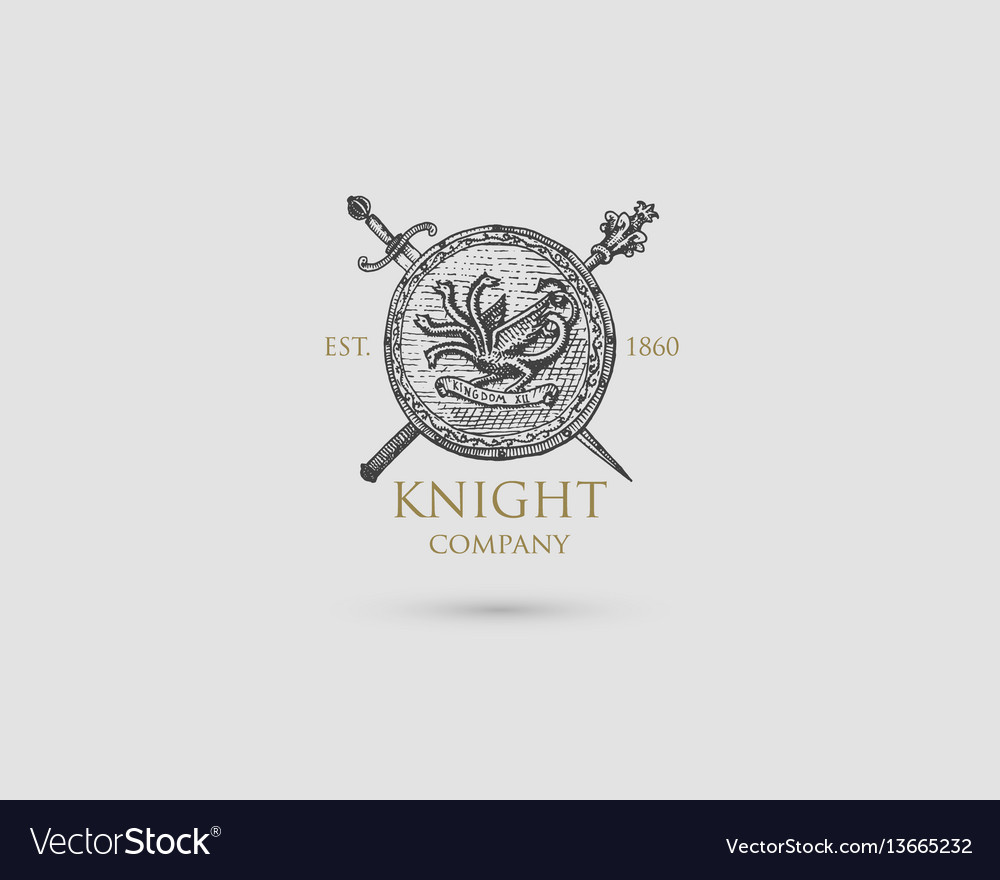 Shield with sword knife and mace logo medieval
