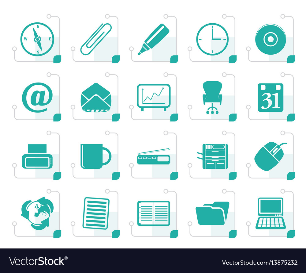 Stylized office tools icons