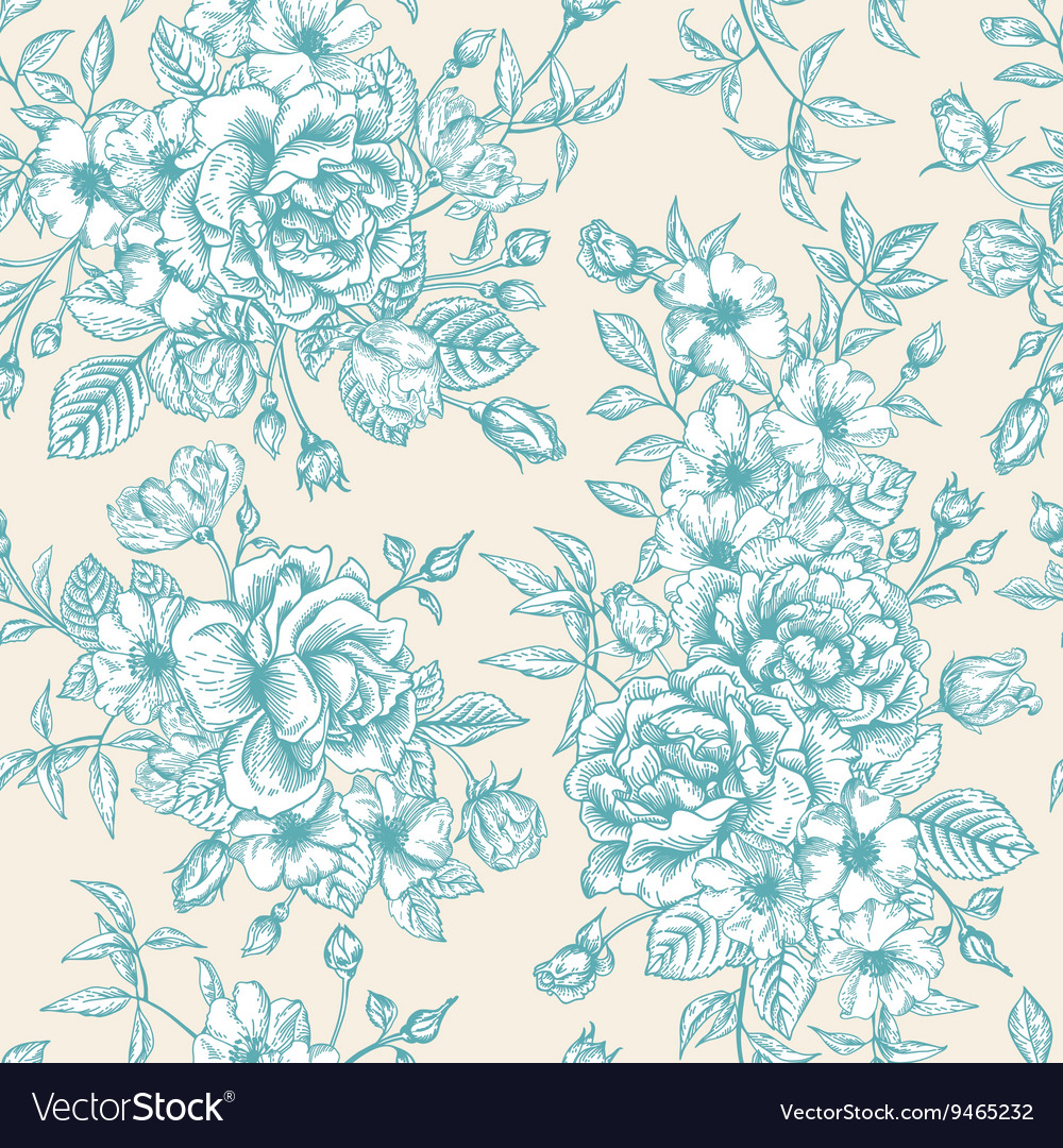 Vintage seamless pattern with blue roses
