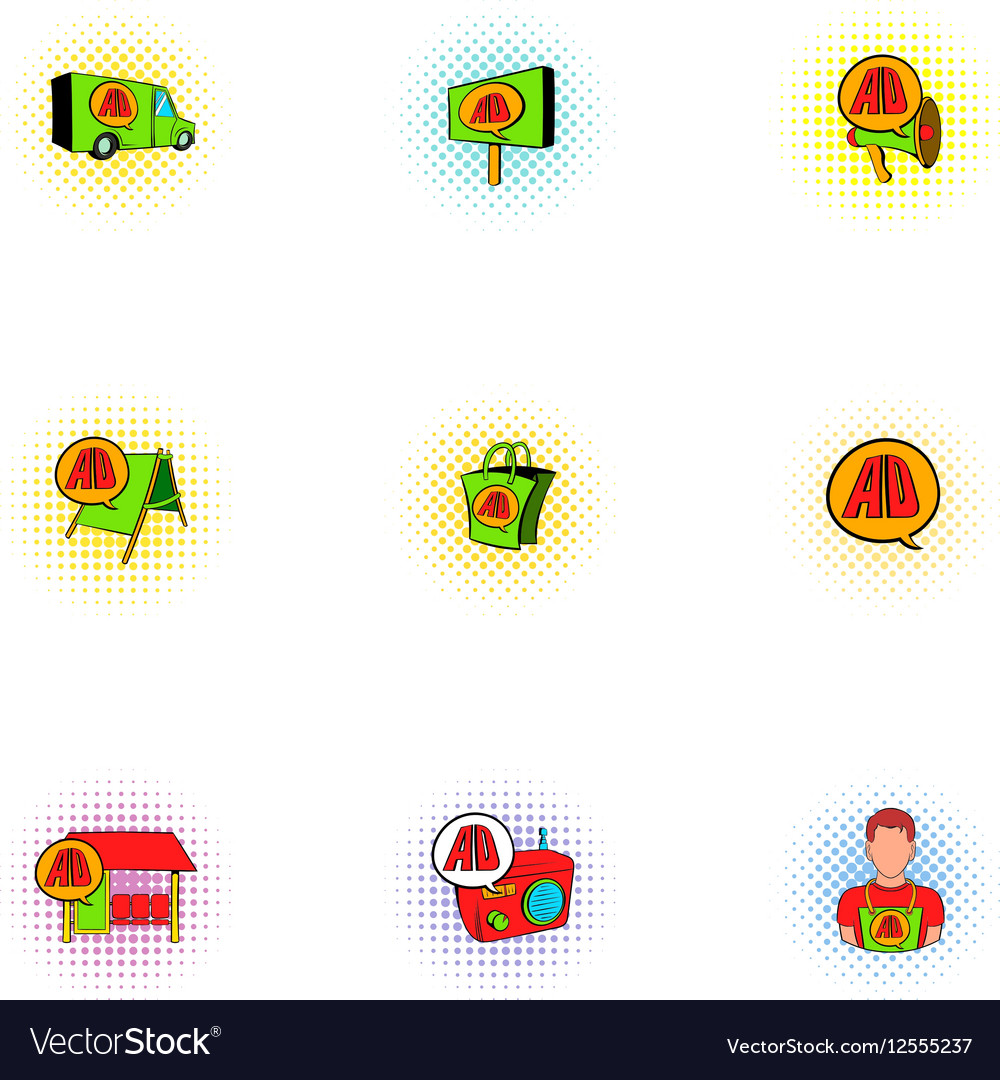 Advertising icons set pop-art style vector image