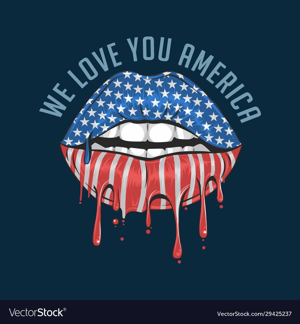 America lips flag we love you america artwork vect