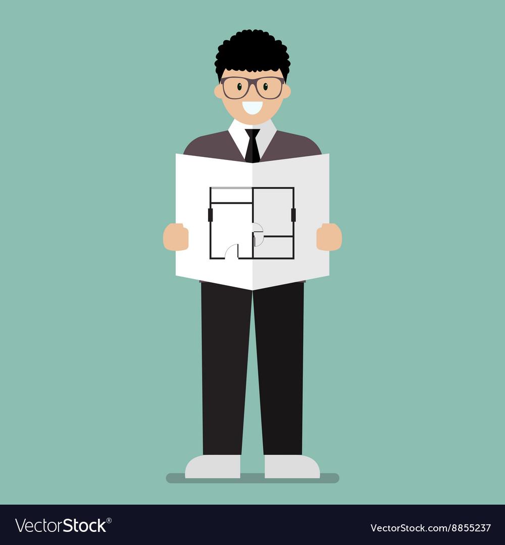 Architect flat cartoon vector image