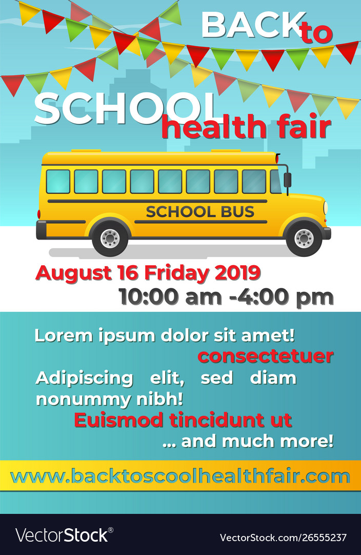 Back to school flyer with school bus