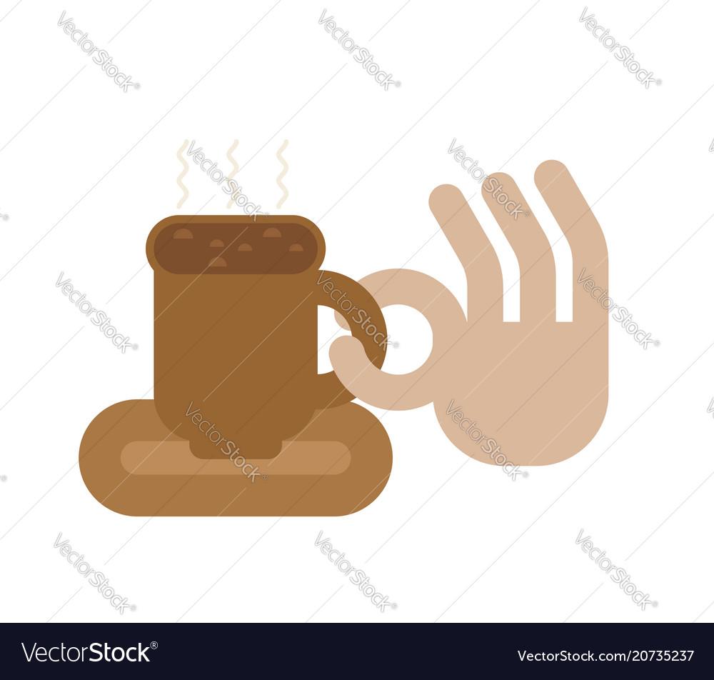 Coffee mug and hand okay sign cup of good hot