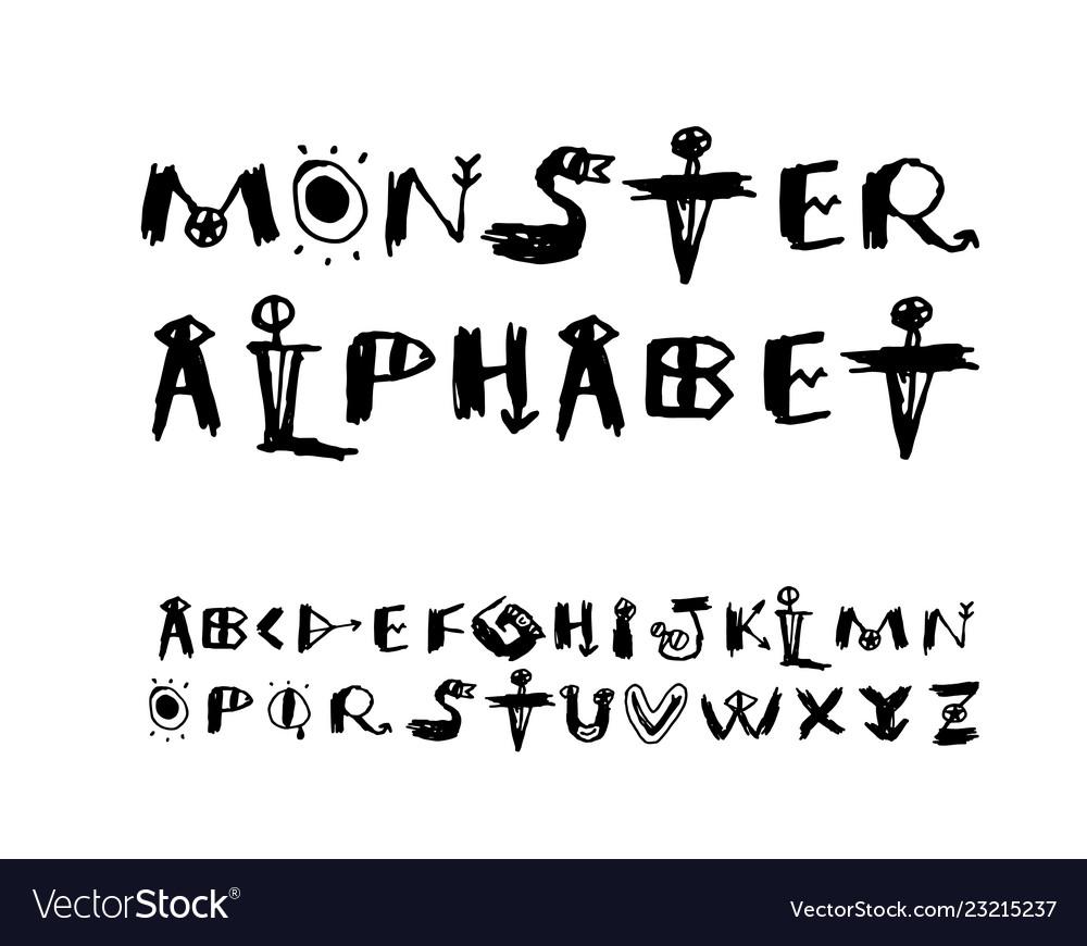 Funny cartoon monster alphabet drawn font