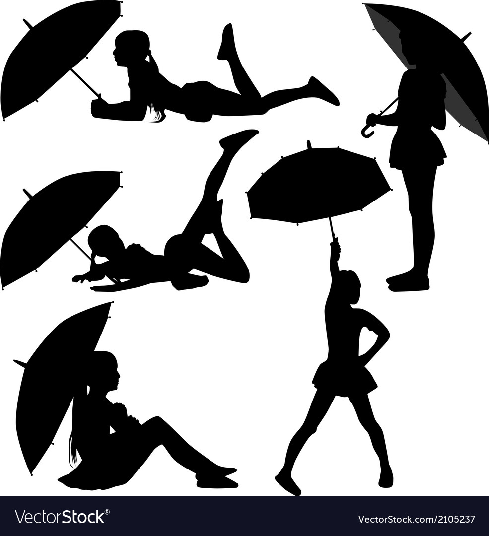 Girl dance with umbrella vector image