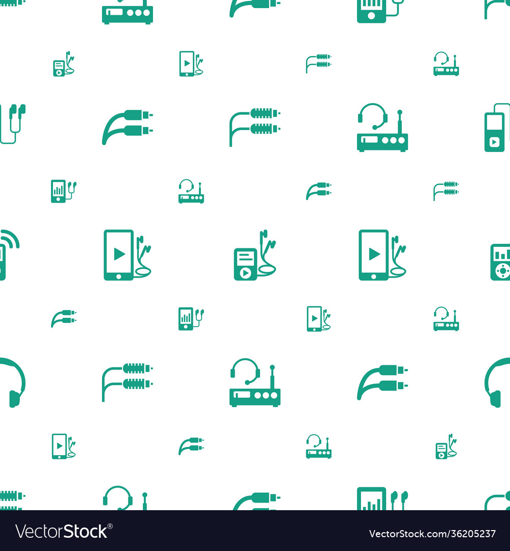 Headphones icons pattern seamless white background