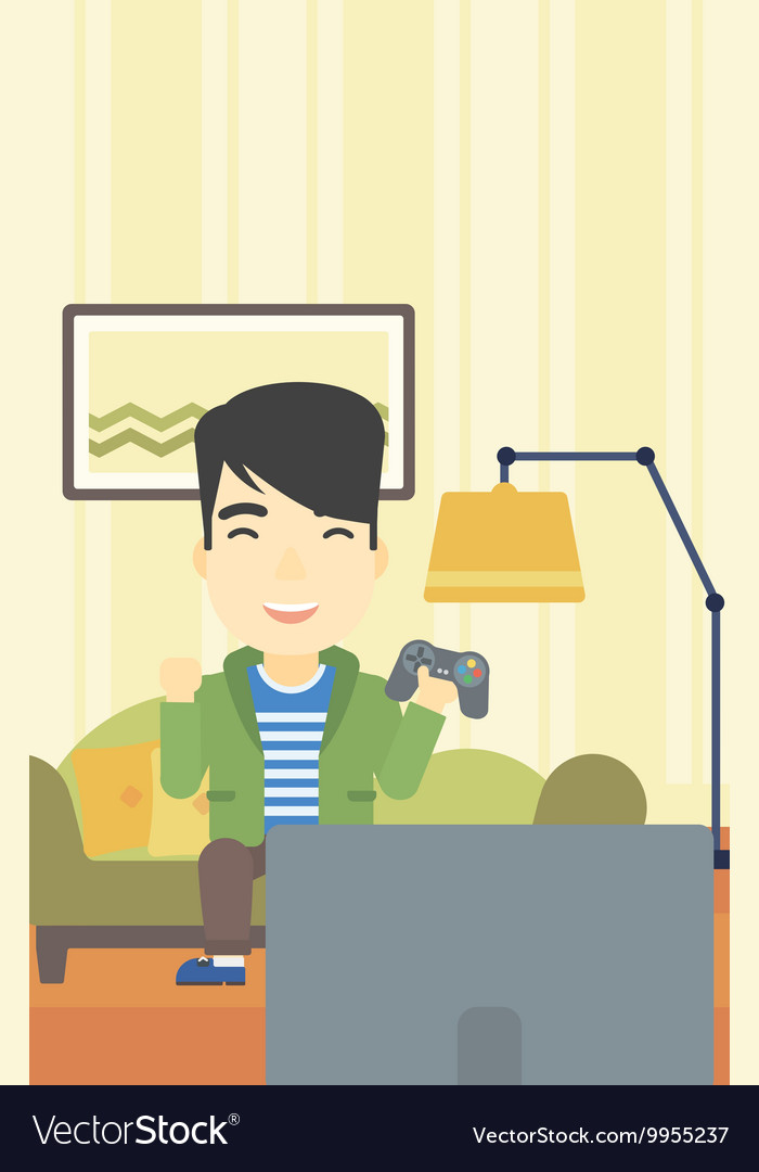 Man Playing Video Game Royalty Free Vector Image