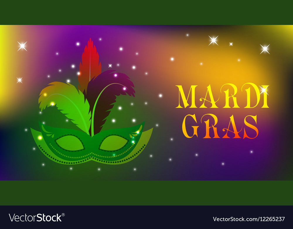 Mardi Gras mask colorful poster template flyer vector image