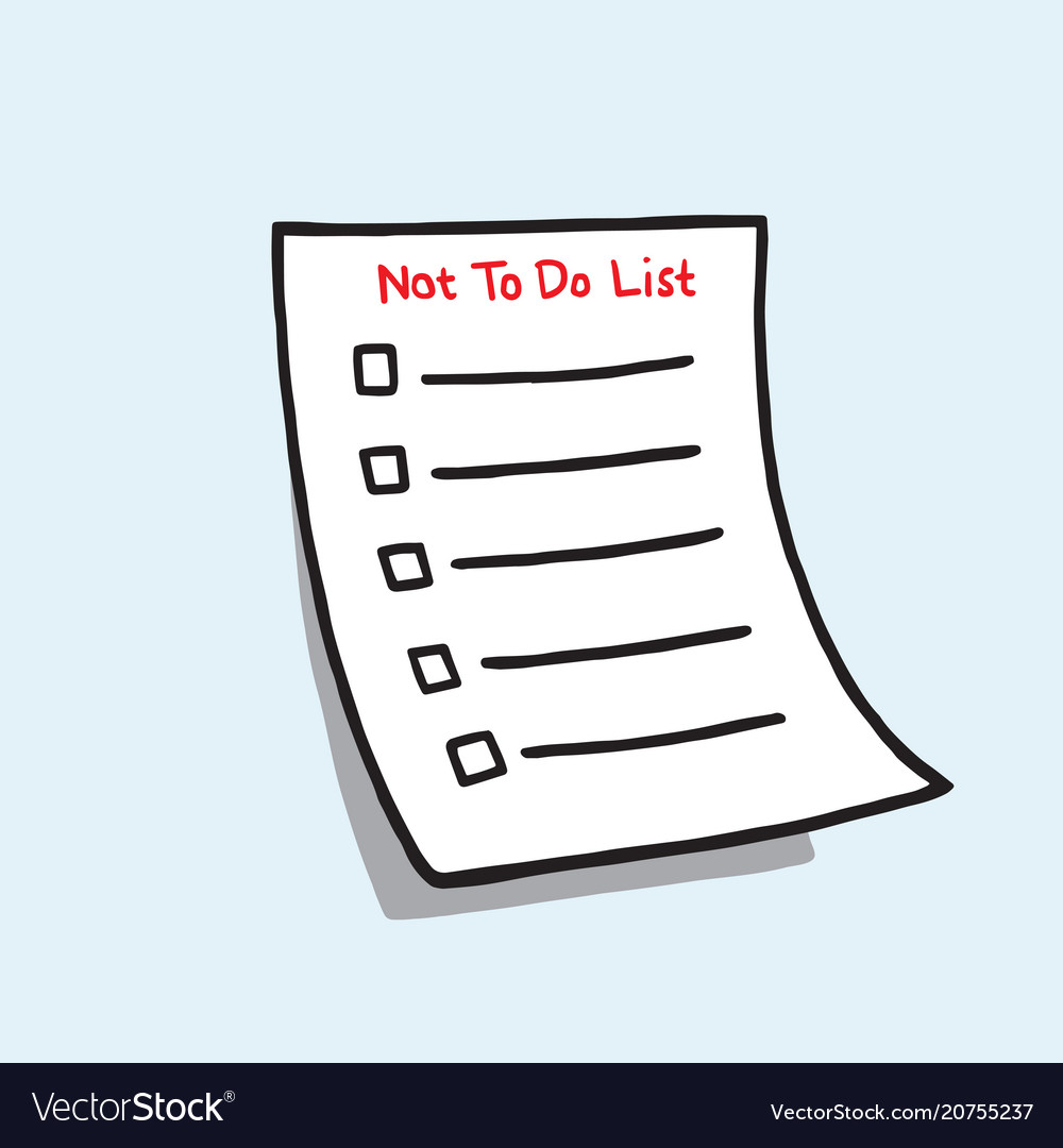 not to do list paper checklist hand drawn doodle vector image