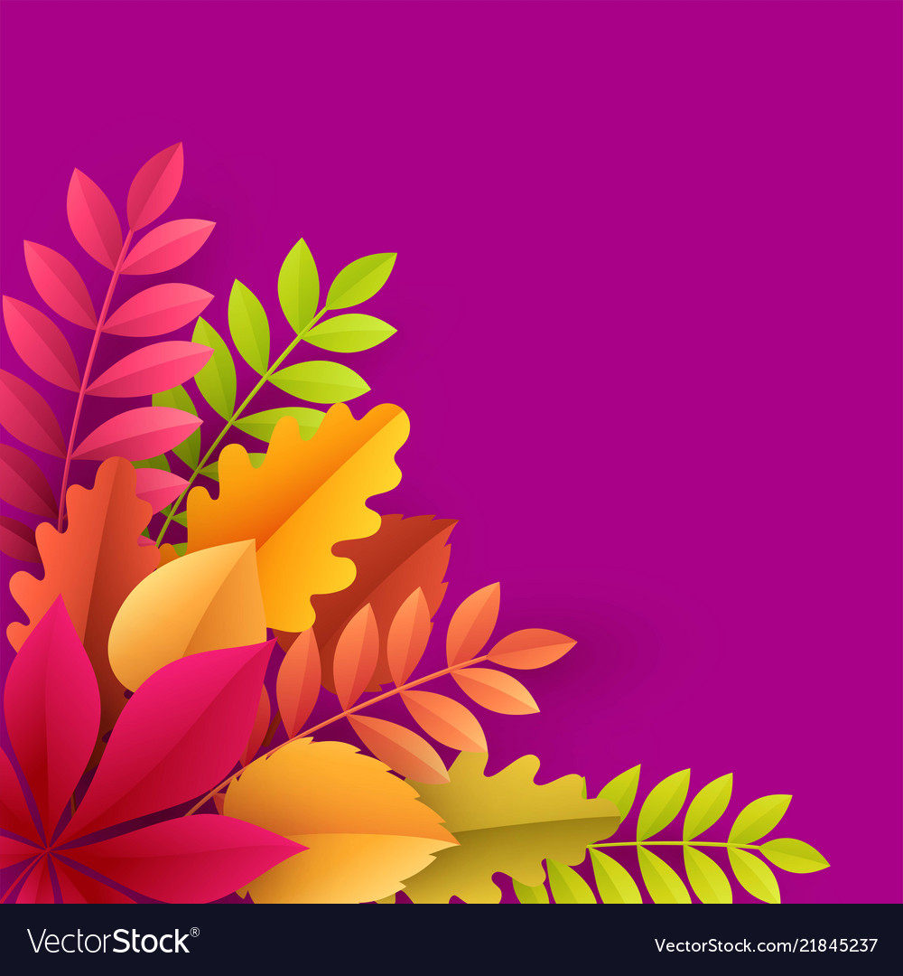 Paper autumn leaves colorful background trendy