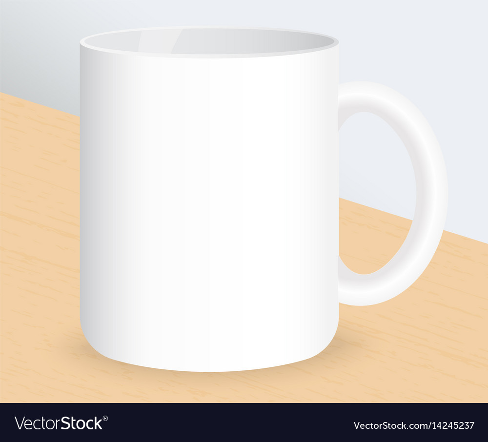 Realistic white coffee cup on wooden table