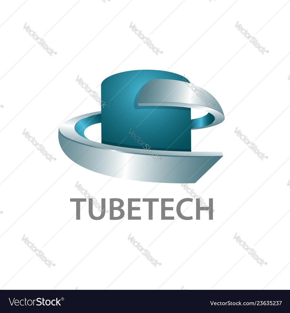 Tube technology logo concept design 3d three