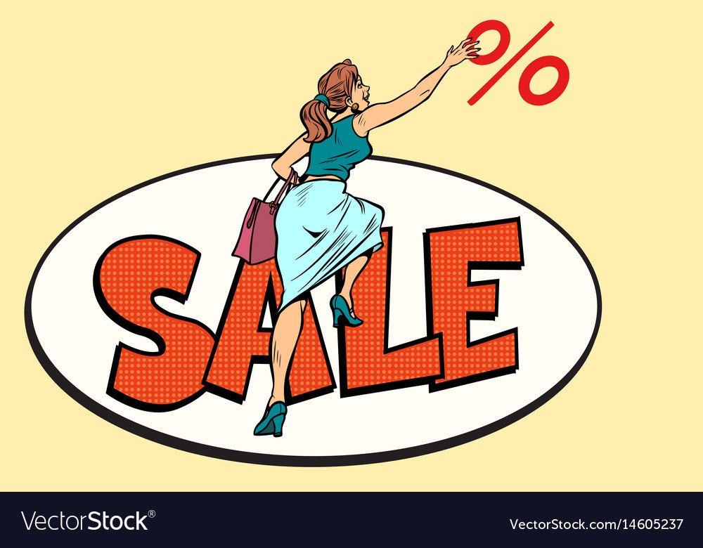 Woman customer sales and discounts vector image