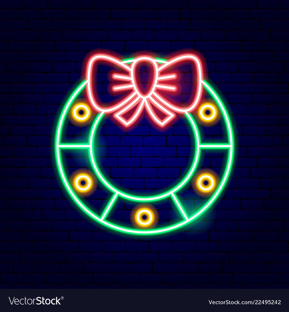 Christmas wreath neon sign
