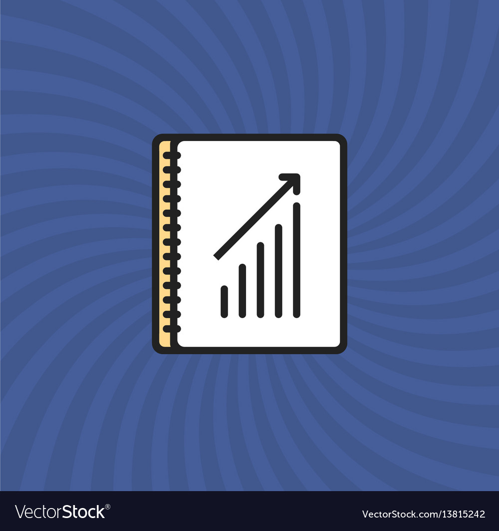 Document graph icon simple line cartoon vector image