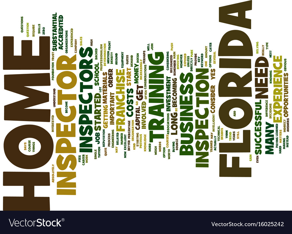 Florida home inspector text background word cloud vector image