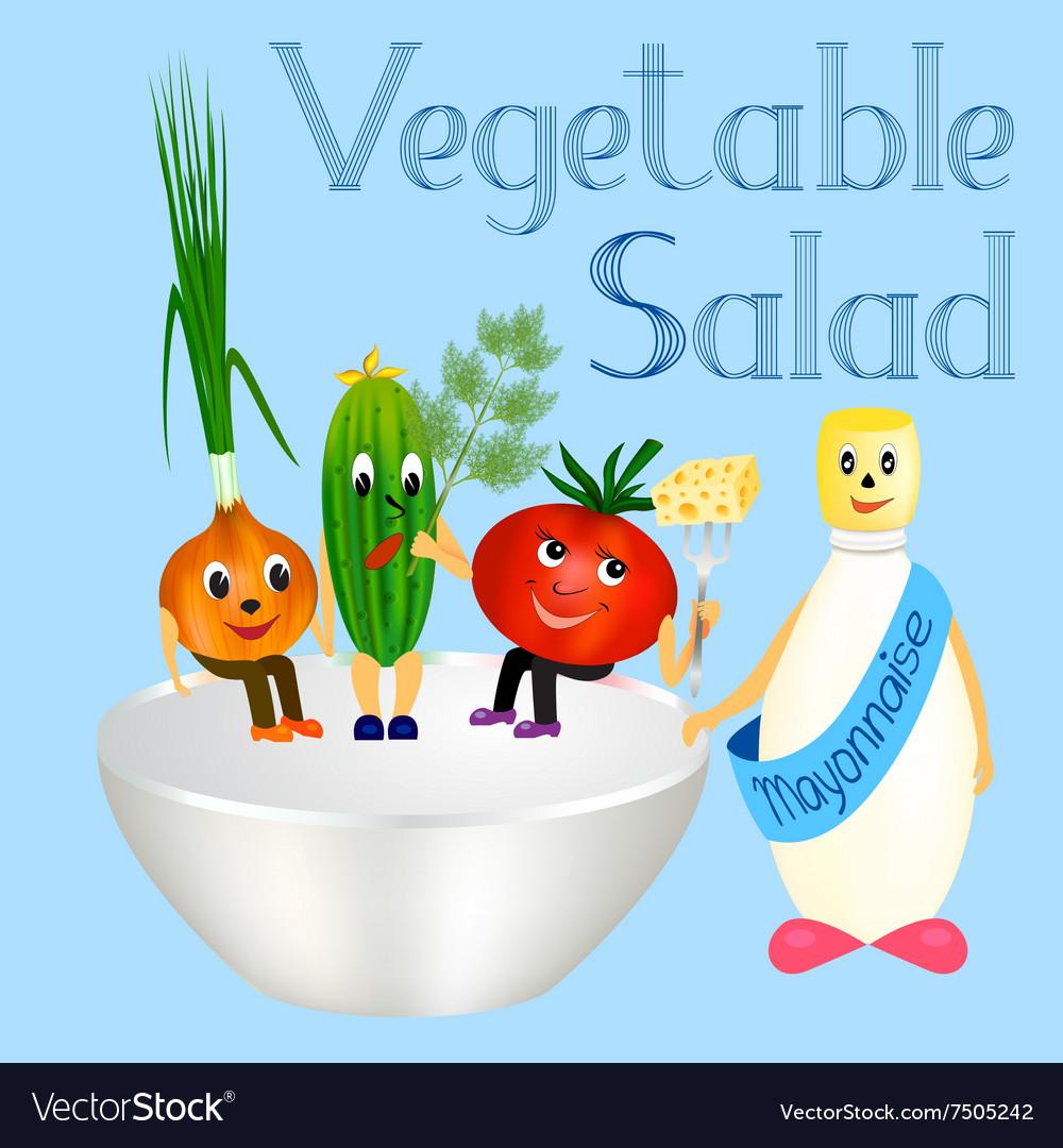 Fresh vegetables for cooking salad