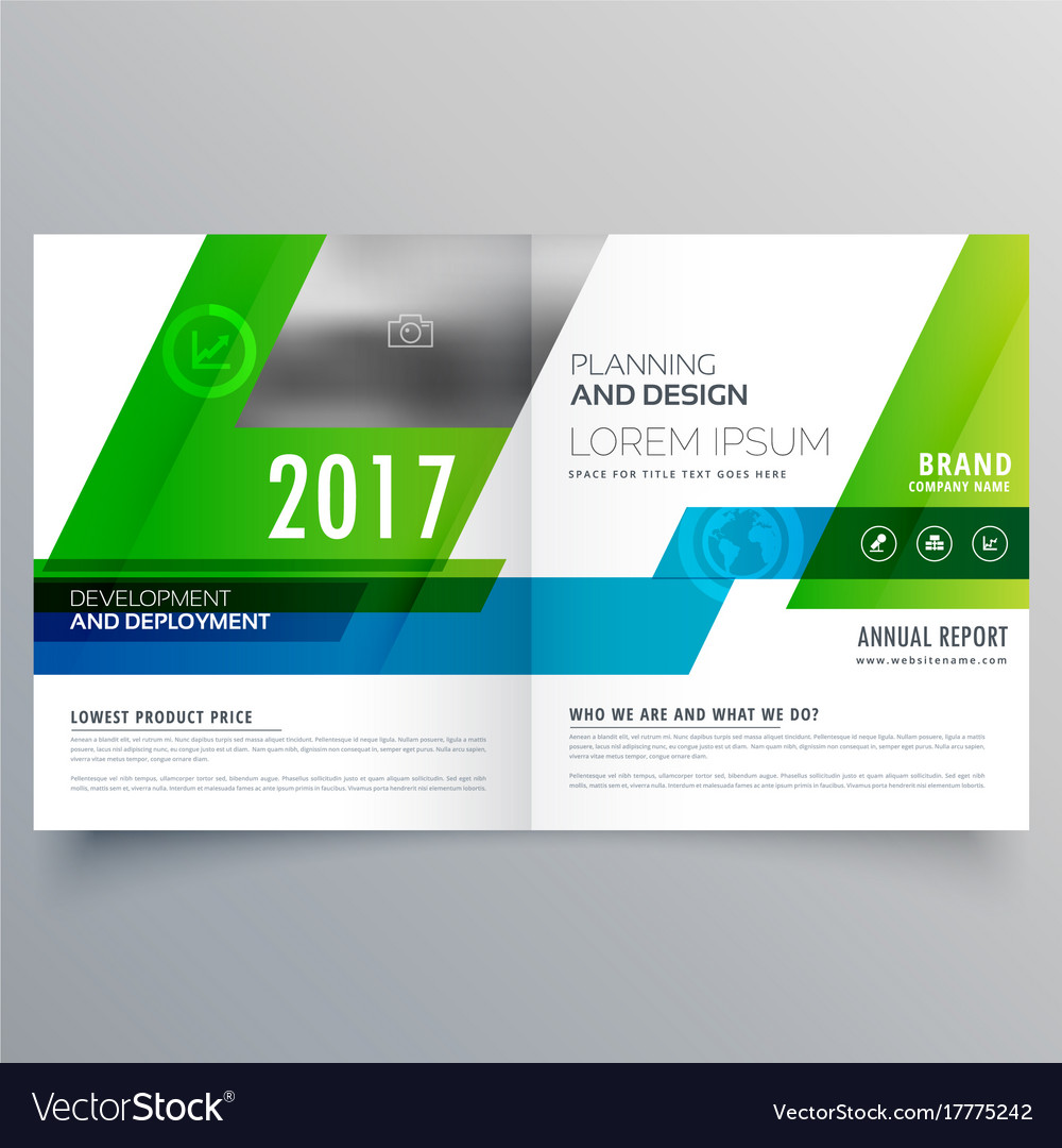 green bi fold brochure template design for your vector image
