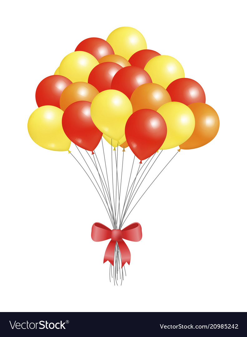 Helium flying elements decorated red bow balloons