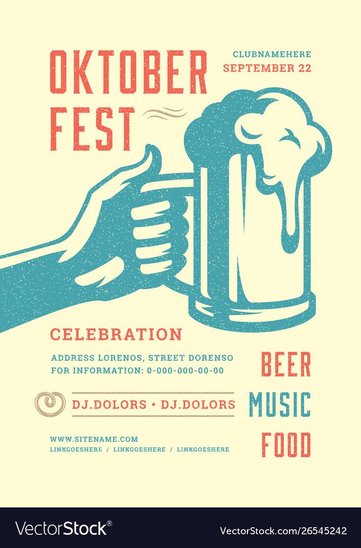 Oktoberfest flyer or poster retro typography