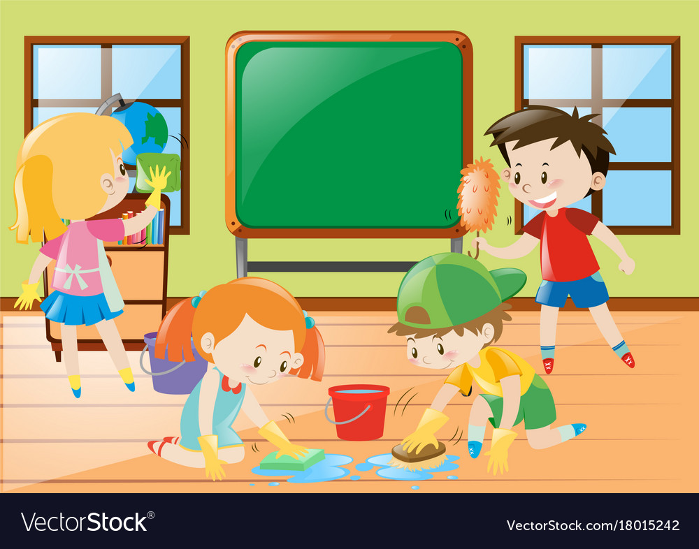 Students cleaning classroom together Royalty Free Vector