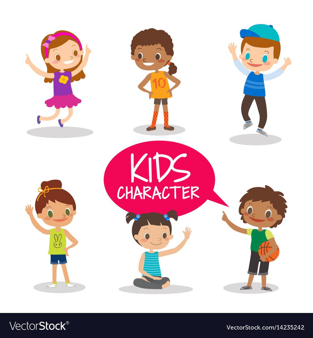 Teen preteen kids cartoon characters vector image