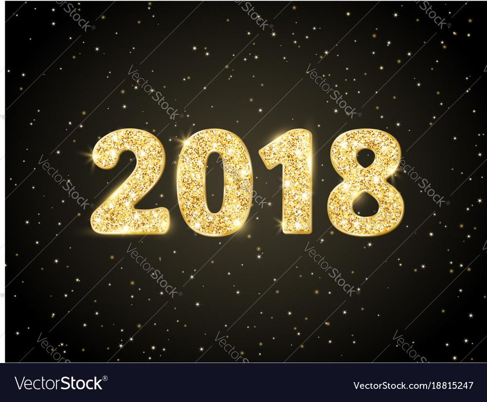 2018 glitter typography design golden sparkling