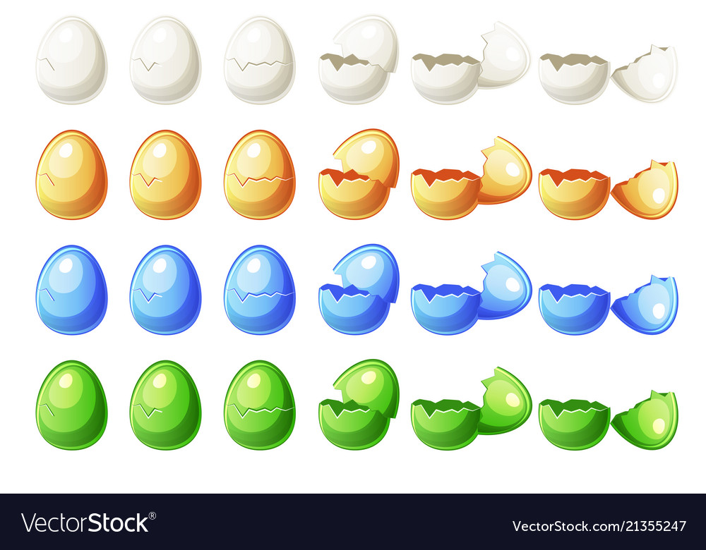 7 steps animations different colors broken egg in