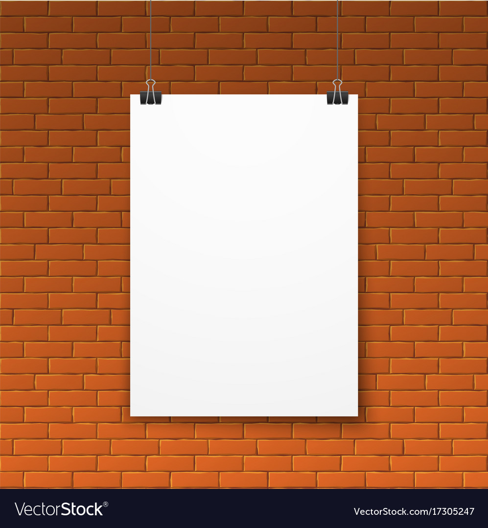 blank white poster on red brick wall royalty free vector