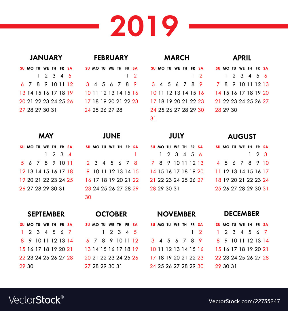 Calendar 20 year on a white background week Vector Image