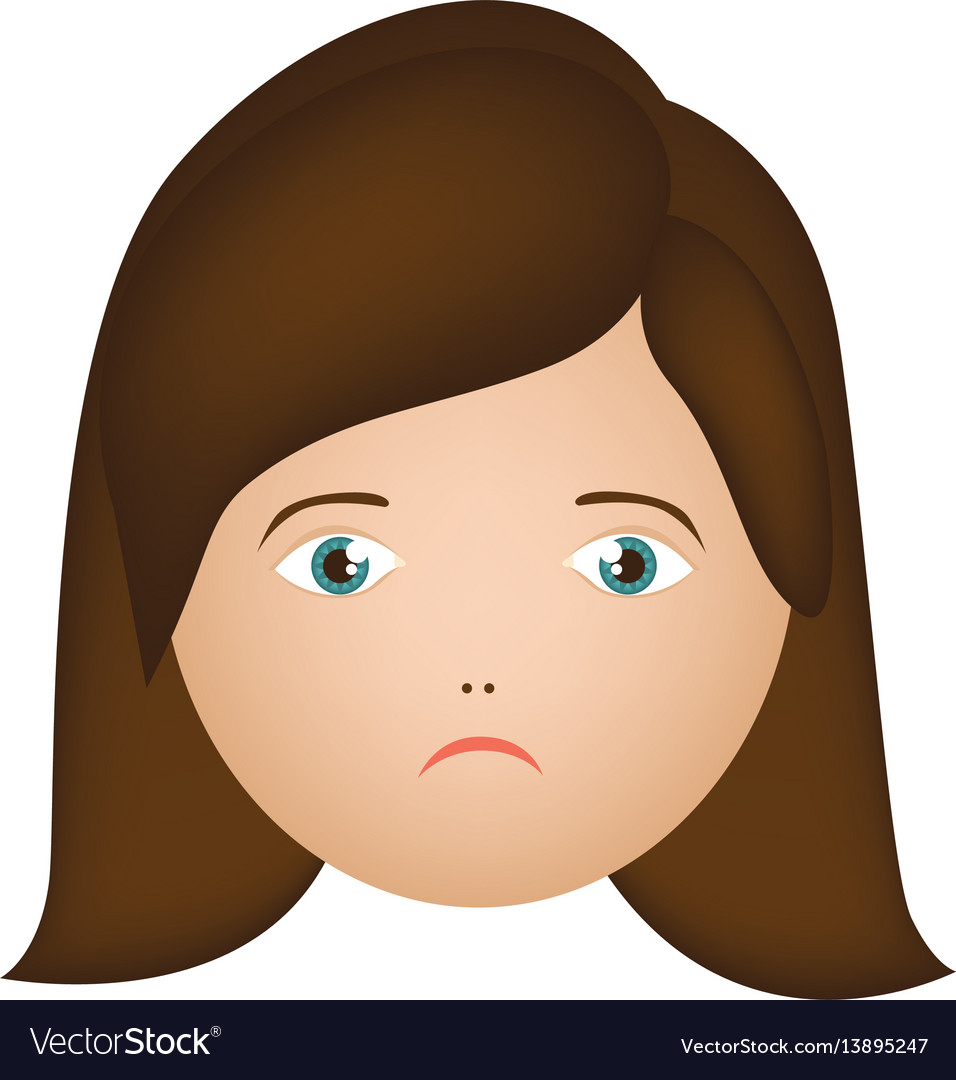 Colorful cartoon human female sad face Royalty Free Vector