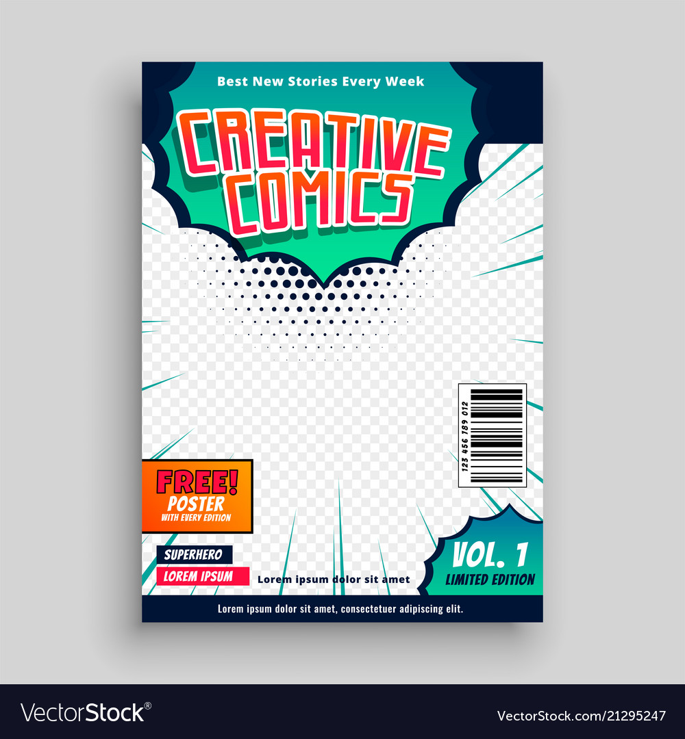 Comic Book Cover Template Design Royalty Free Vector Image