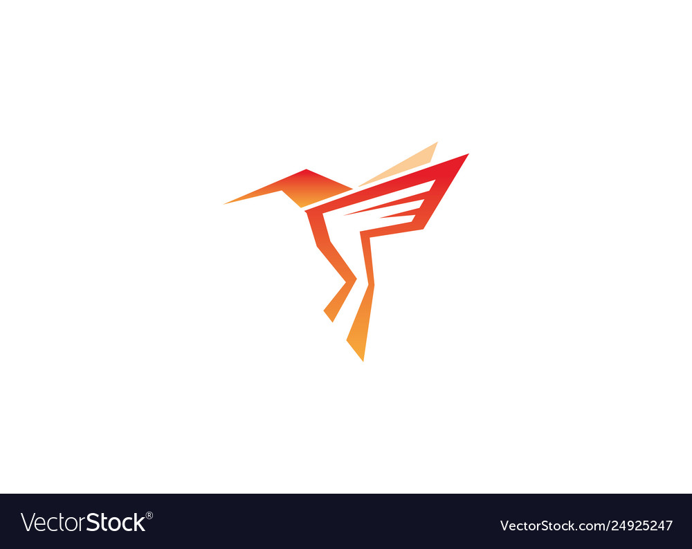 Creative red hummingbird logo