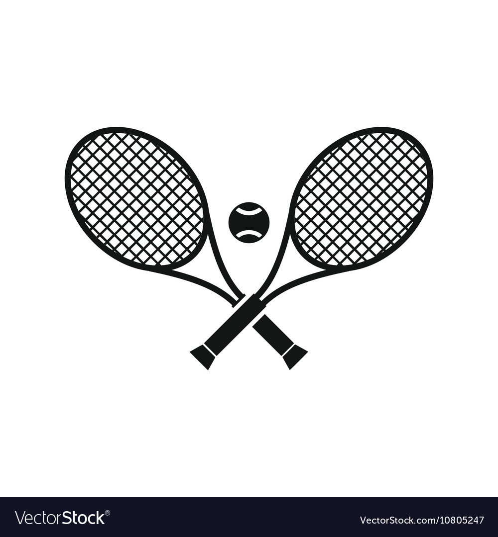 Crossed tennis rackets and ball icon simple style vector image