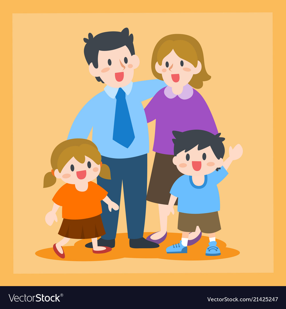 Happy family father mother children