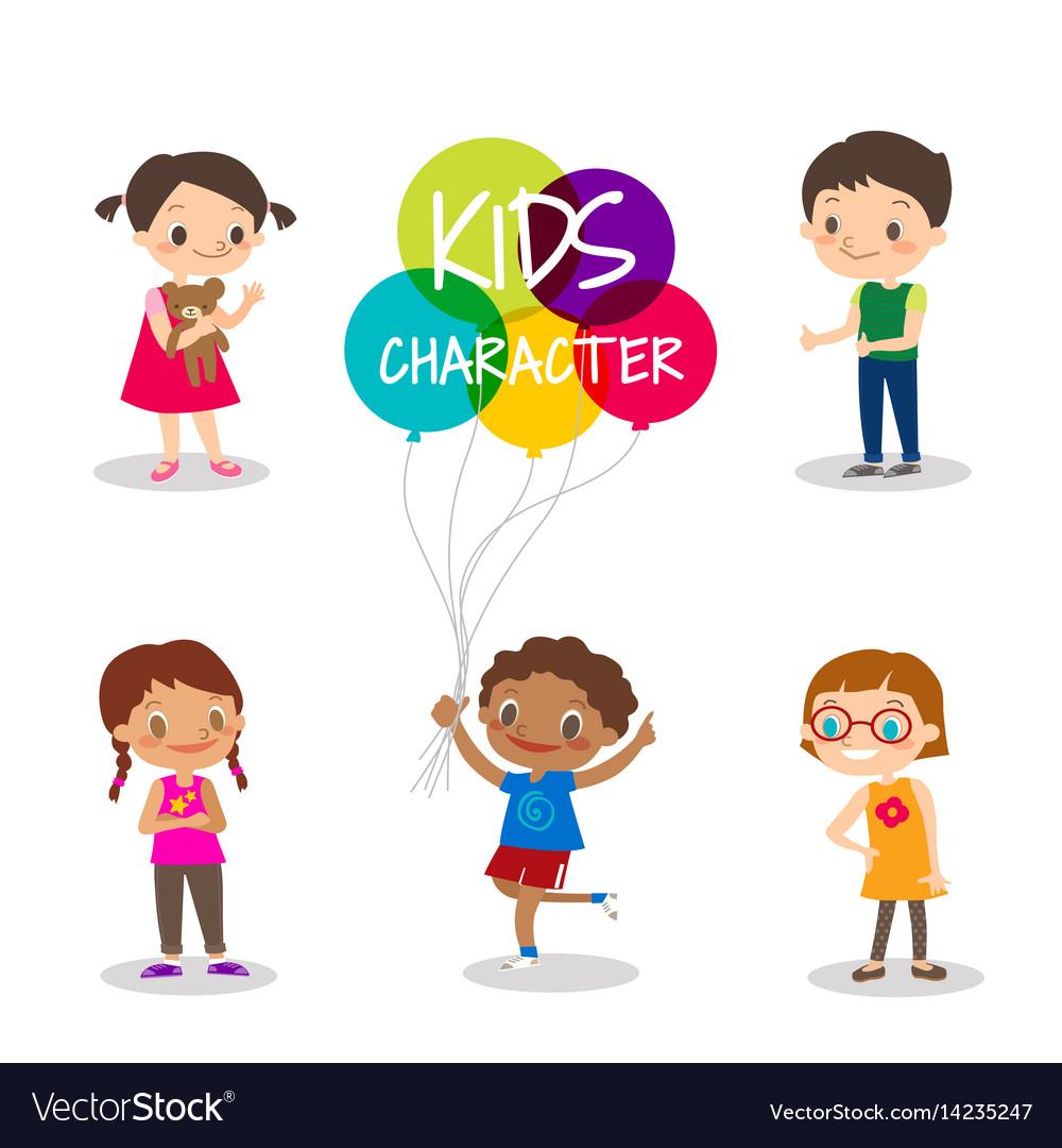 Happy preteen kids cartoon characters