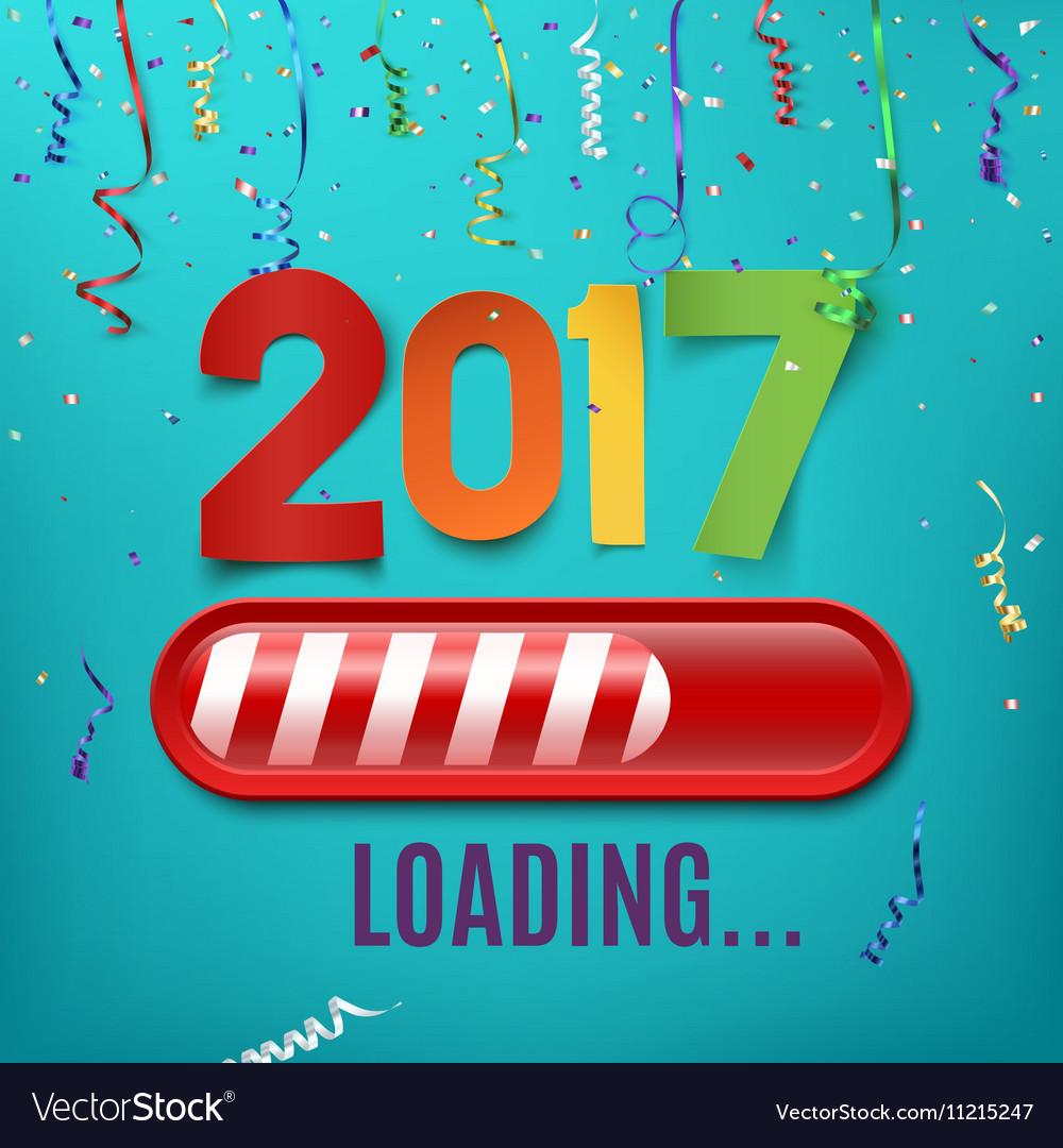 New year 2017 loading bar on celebrating