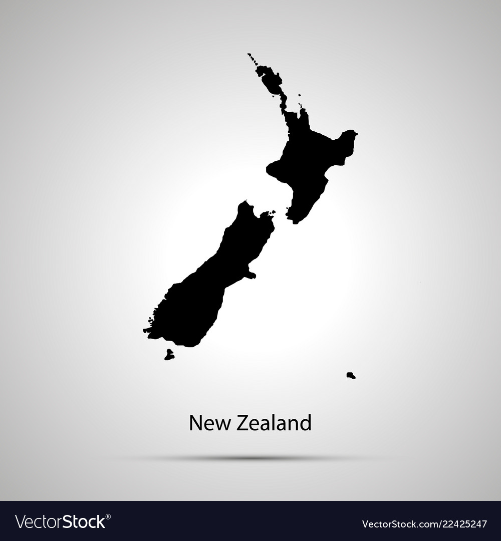 New zealand country map simple black silhouette