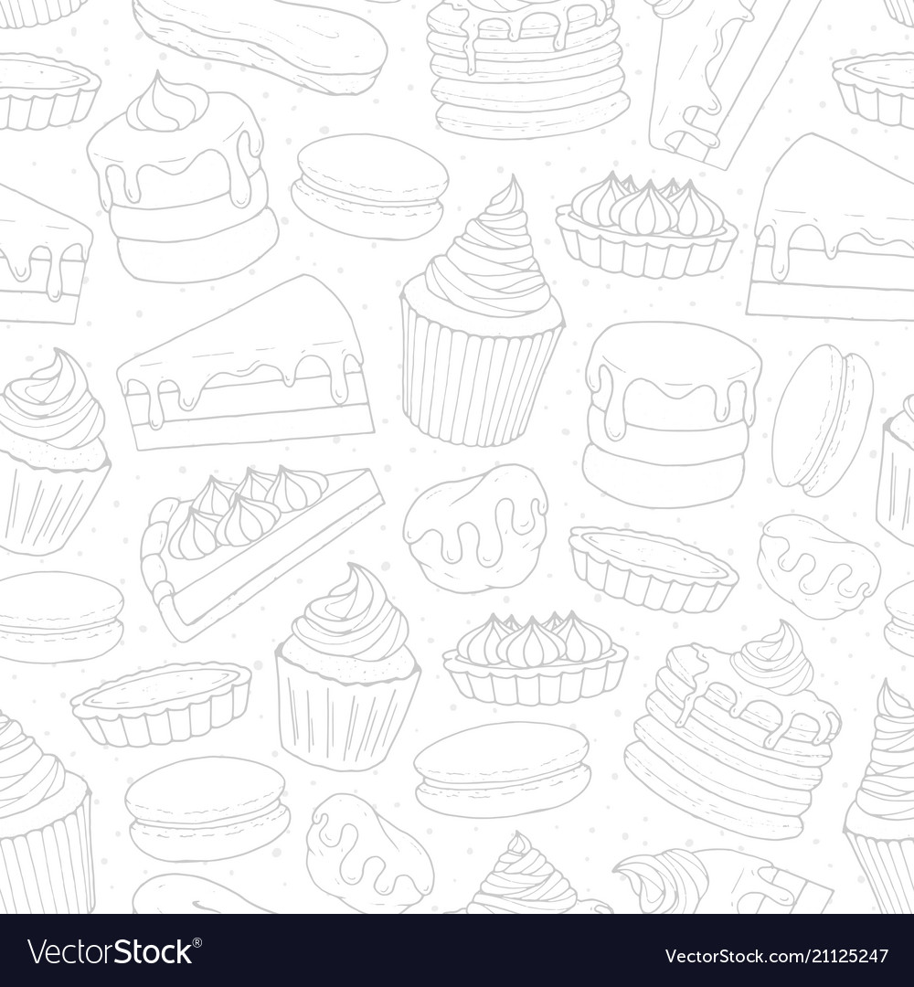 Pastry repeat pattern with cakes pies muffins