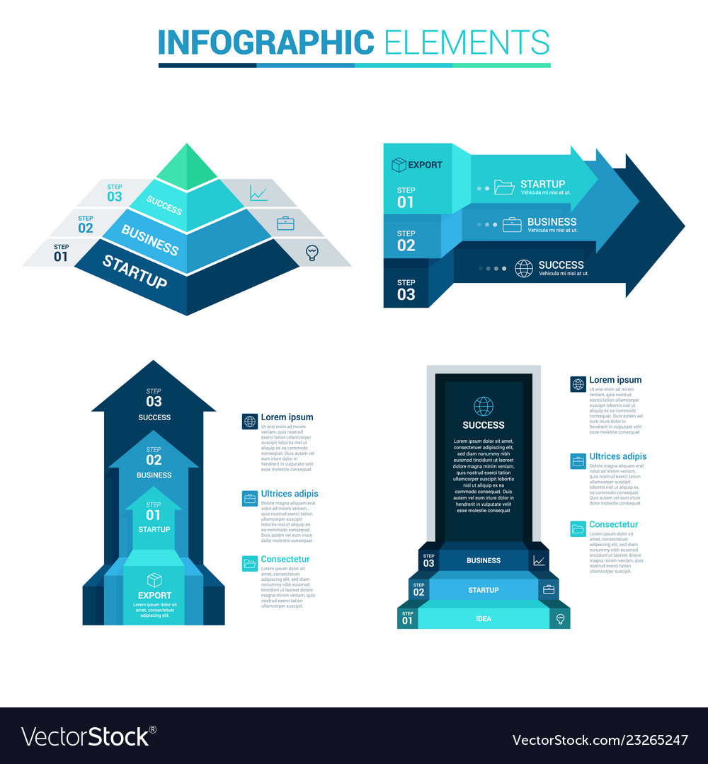 Perspective arrow pyramid and door blue template