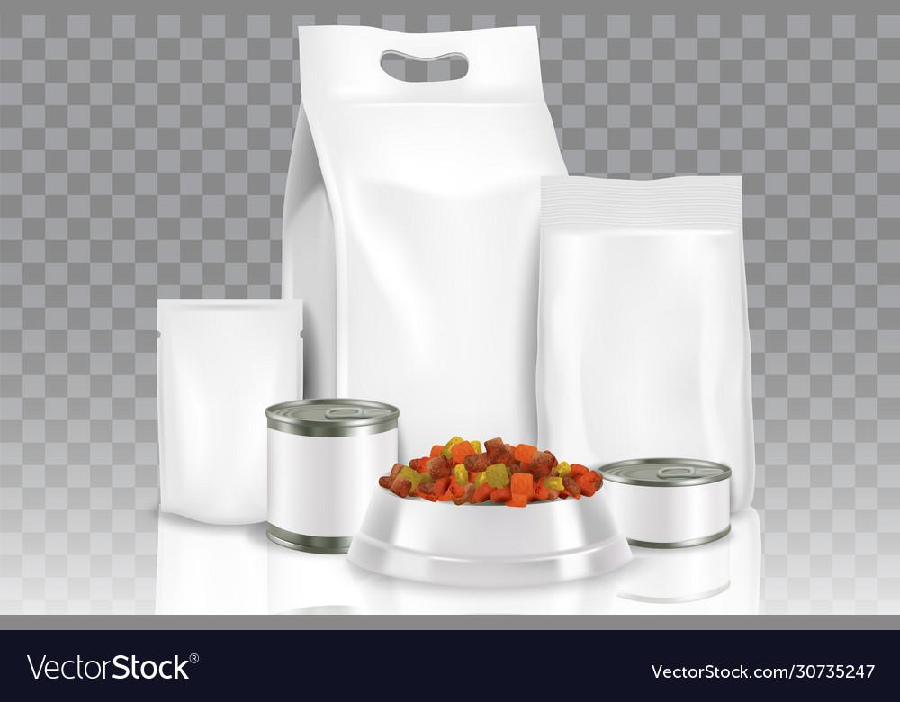 Realistic pet food pack mock up set