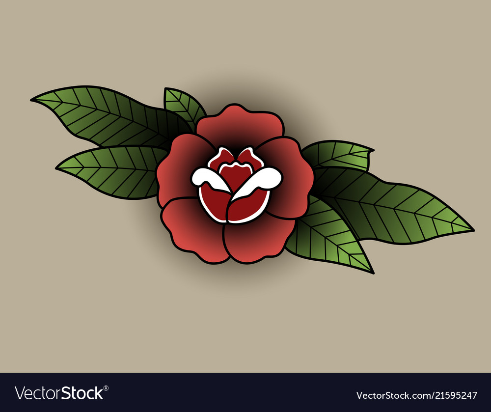 Rose with leaves in the style of a tattoo