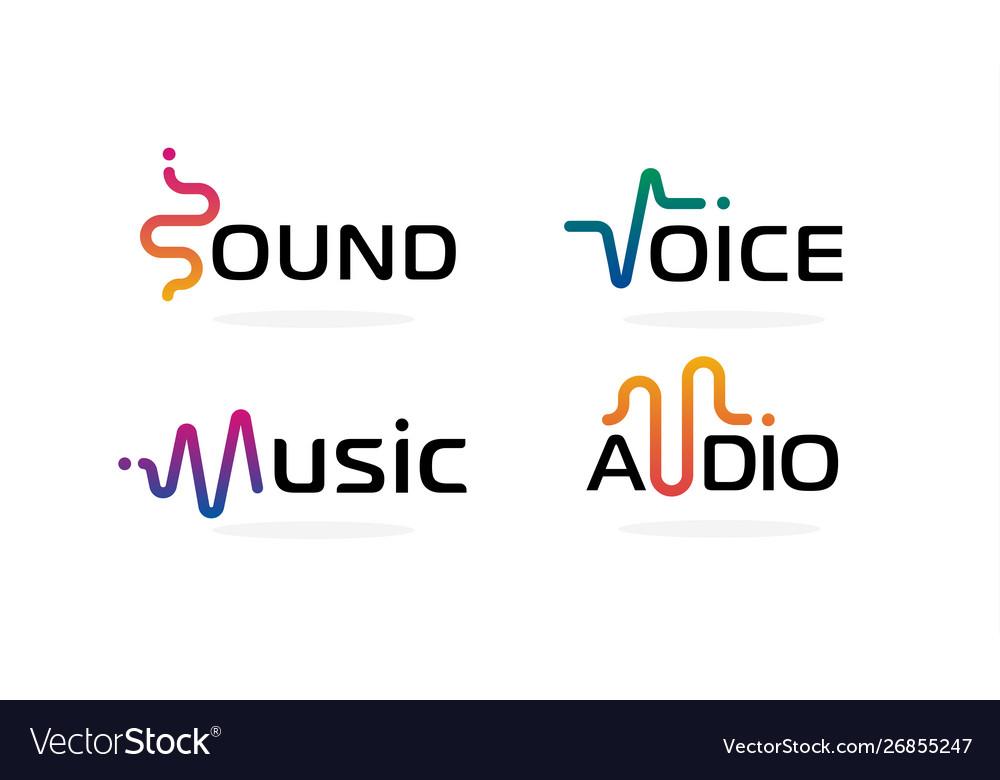 Sound wave icons set music waves symbols audio