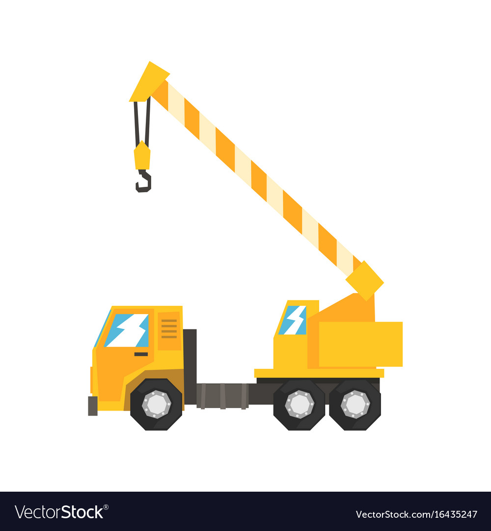 Yellow truck mounted hydraulic crane cartage vector image