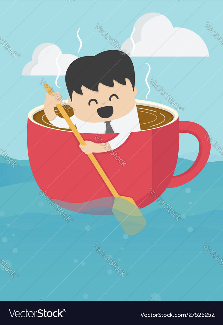 Business concepts businessman who is in a cup of
