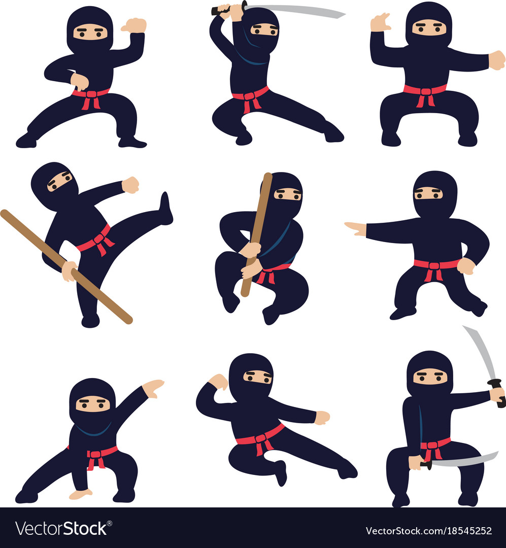 Cartoon funny warriors ninja or samurai